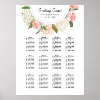 Elegant roses weddin dinner seating chart poster