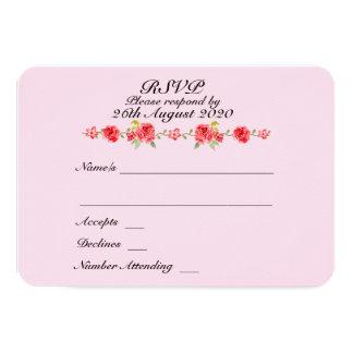 Elegant Roses Wedding RSVP Card
