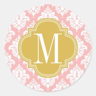 Élégant rougissent la damassé rose personnalisée sticker rond