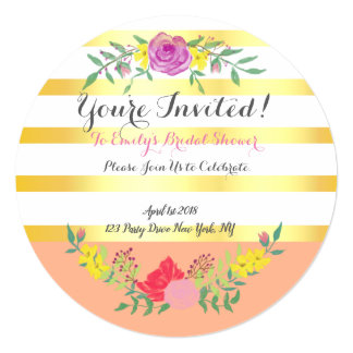 Elegant Round Modern Bridal Shower Invitation