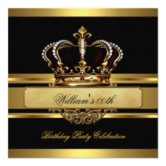 Elegant Royal Black Gold Birthday Prince King Card