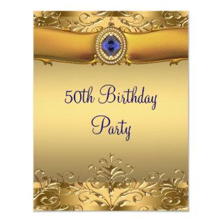 "Elegant Royal Blue and Gold 50th Birthday Party 4.25"" X 5.5"" Invitation Card"