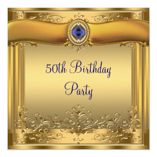 """Elegant Royal Blue and Gold 50th Birthday Party 5.25"""" Square Invitation Card"""