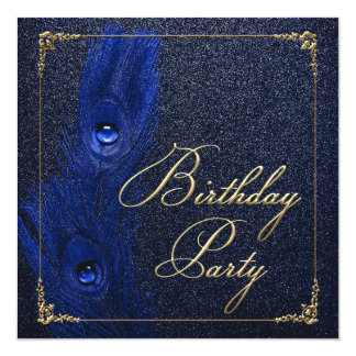 Elegant Royal Blue and Gold Peacock Birthday Party Card
