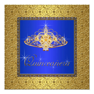 """Elegant Royal Blue and Gold Quinceanera 5.25"""" Square Invitation Card"""