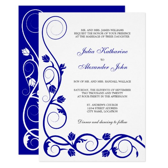 Elegant Royal Blue And White Swirls Card Zazzle Ca