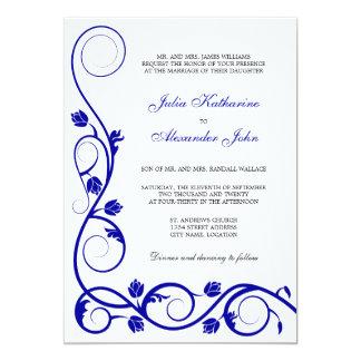 Elegant Royal Blue and White Swirls Invitation