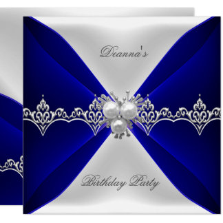 Elegant Royal Blue Birthday Jewel White Silk Card
