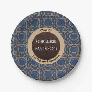 Elegant Royal Blue & Gold Abstract Graduation Paper Plate