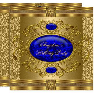 Elegant Royal Blue Gold Birthday Party Card
