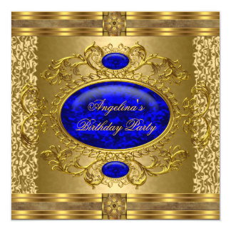 Elegant Royal Blue Gold Birthday Party Card