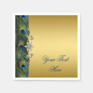Elegant Royal Blue Green and Gold Peacock Paper Napkins