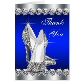 Elegant Royal Blue High Heel Shoe Thank You Cards