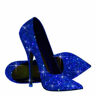 Elegant Royal Blue High Heel Shoes Acrylic Cut Outs
