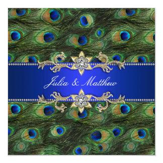 "Elegant Royal Blue Peacock Wedding 5.25"" Square Invitation Card"