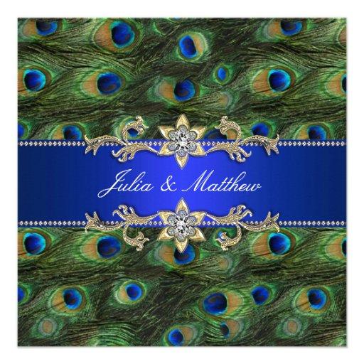 Elegant Royal Blue Peacock Wedding Custom Invites