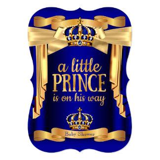 "Elegant Royal Blue Prince Baby Shower Gold Crowns 5"" X 7"" Invitation Card"