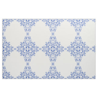 Elegant Royal Blue Swirls Pattern Fabric