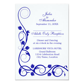 Elegant Royal Blue Swirls Reception Cards