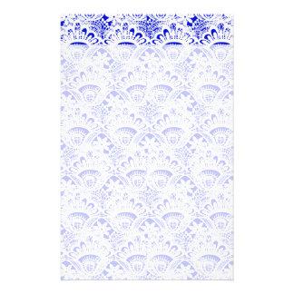 Elegant Royal Blue White Lace Damask Pattern Stationery Design