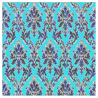 Elegant Royal Damask on Turquoise Fabric