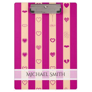 Elegant Royal Fuchsia Stripe Modern Heart Pattern Clipboard