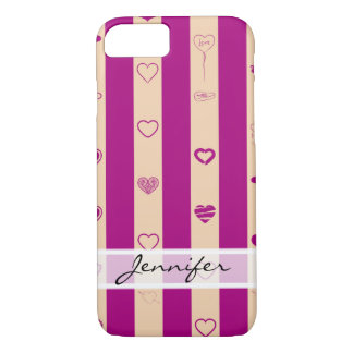 Elegant Royal Fuchsia Stripes Modern Heart Pattern iPhone 8/7 Case