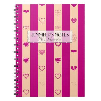 Elegant Royal Fuchsia Stripes Modern Heart Pattern Notebook