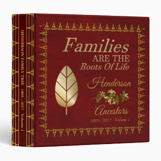 Elegant Royal Red And Gold  Family Tree Album 3 Ring Binder