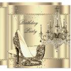 Elegant Royal Sepia Gold Cream Chandelier Party Card