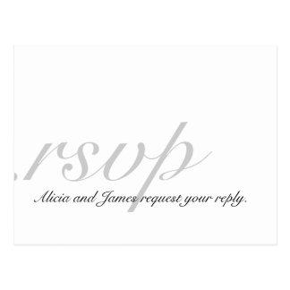 Elegant RSVP Cards for Weddings White Grey Postcard