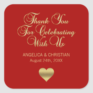 Elegant Ruby Berry Red Gold Thank you Wedding Square Sticker