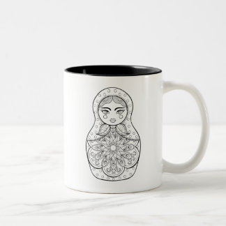 Elegant Russian Doll Two-Tone Coffee Mug