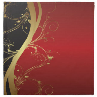 Elegant Rust and Black Curves with Gold Flourishes Napkin