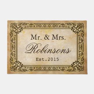 Elegant Rustic Antique Frame Personalized Wedding Doormat