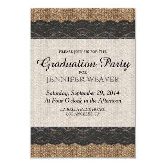 Elegant Rustic Black Lace and Jute Design 3.5x5 Paper Invitation Card