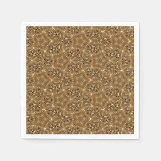 Elegant Rustic Brown Kaleidoscope Star Pattern Disposable Napkin