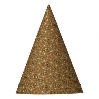 Elegant Rustic Brown Kaleidoscope Star Pattern Party Hat