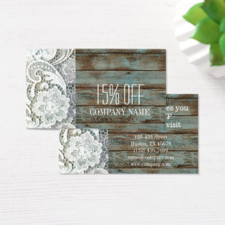 elegant rustic country white lace blue barn wood business card