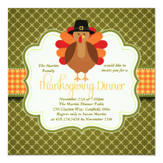 "Elegant Rustic Cute Turkey Thanksgiving Dinner 5.25"" Square Invitation Card"