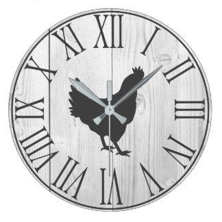 Elegant Rustic Farmhouse Faux White Wood & Hen Large Clock