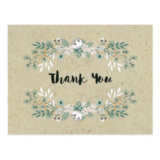 Elegant Rustic Floral Simple Earthy Thank You Postcard