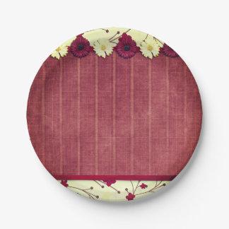 Elegant Rustic Flowers Wedding Paper Plate