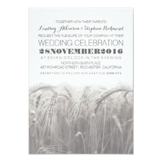 Elegant rustic gray white wheat wedding invitation