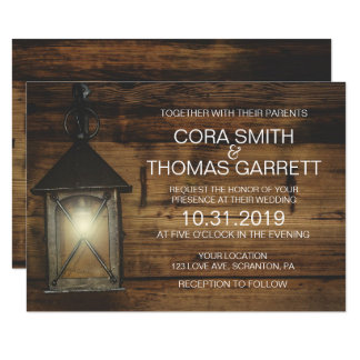 Elegant Rustic Lantern Lights Wedding Card