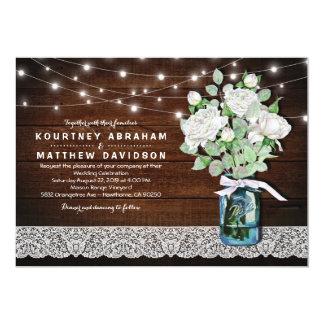Elegant Rustic Mason Jar String Lights Wedding Card