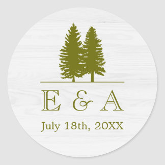 Elegant Rustic Pine Trees on White Wood Background Classic Round Sticker