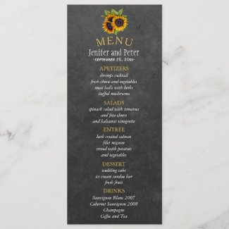 Elegant rustic sunflowers fall wedding menu