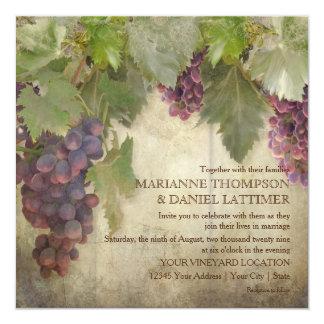 "Elegant Rustic Vineyard Winery Fall Wedding 5.25"" Square Invitation Card"