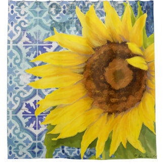 Elegant Rustic Wood Sunflower Floral Tile Pattern